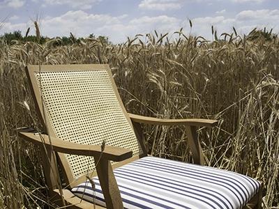 Adriatica chaise-longue upholstered in Viareggio white/blue